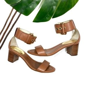 Michael Kors Calder Brown Tan Chunky Ankle Sandals
